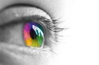Auge, Iris mehrfarbig