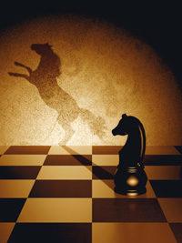 Schachbrett und -figur