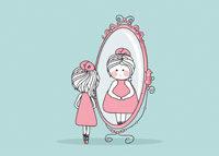 Schlanke Frau dick im Spiegel