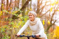 Radfahrerin, Herbst