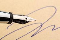 Füllfederhalter, Unterschrift