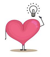 Herz mit Armen u.Beinen, Hand zeigt auf Glühbirne