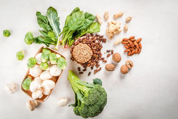 Grüne Gemüse, Pilze, Samen, Nüsse