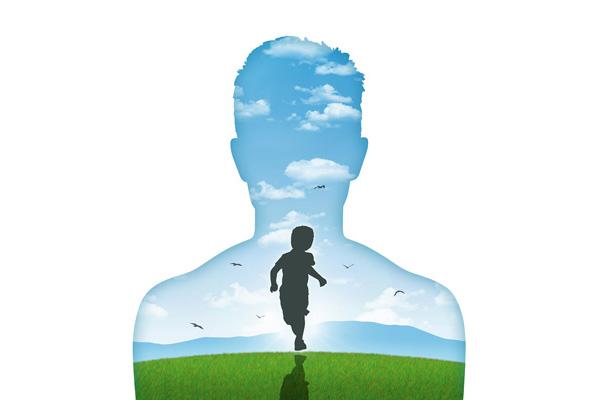 Männlich Silhouette, darin Landschaft mit Kind