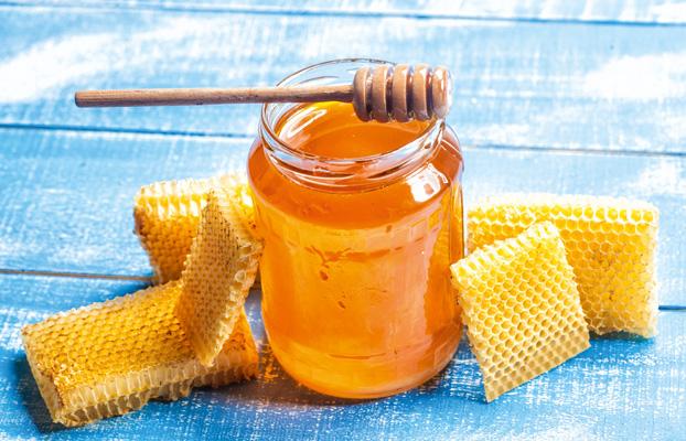 Honigglas und Waben