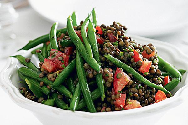 Linsensalat mit grünen Bohnen